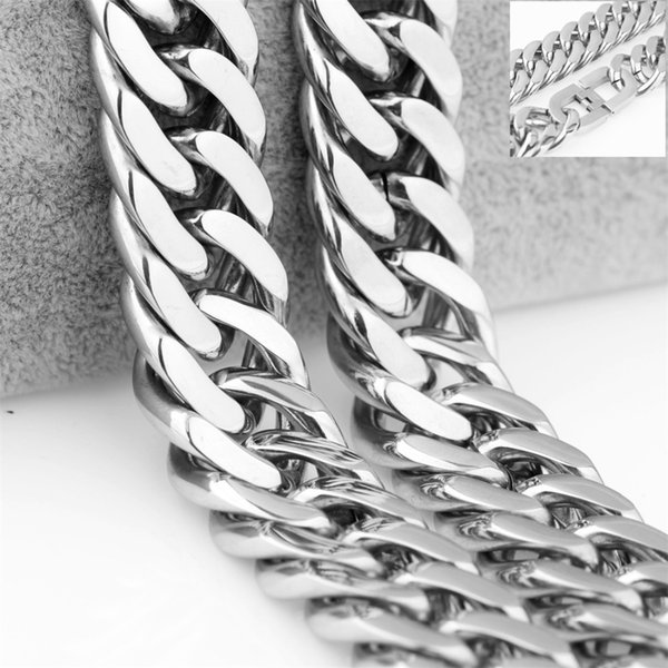 Width 21mm Hip Hop Necklace For Men 316LStainless Steel 7-40inch Heavy Jewelry Cuban Curb Chain Necklace Or Bracelet