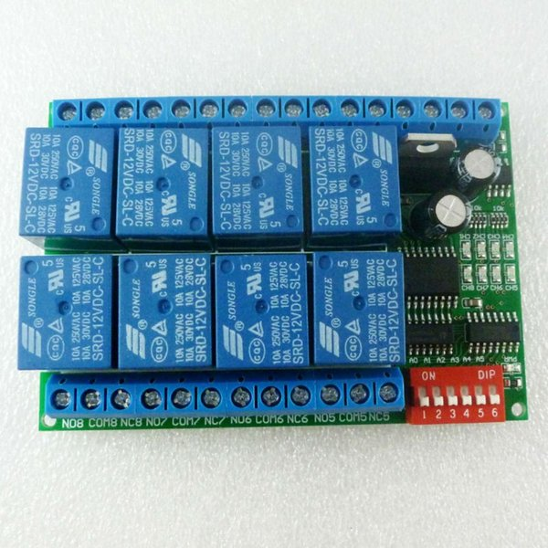Freeshipping 8 Channel DC 12V RS485 Relay Module Modbus RTU 485 Remote Control Switch for PLC PTZ Camera Security Monitoring