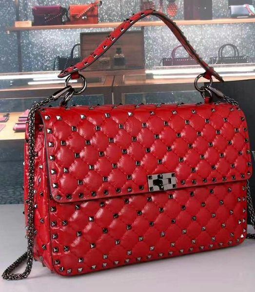 2019 new genuine leather high fashion handbag diamond lattice metallic black rivet papaya print cow leather full start evening big size 30cm