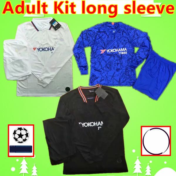 Chelsea soccer jersey Adulto Kit de la manga larga de la camisa del fútbol 19 20 PULISIC fútbol camiseta para hombre conjuntos Monte azul negro ABRAHAM 2019 2020 KANTE  traje