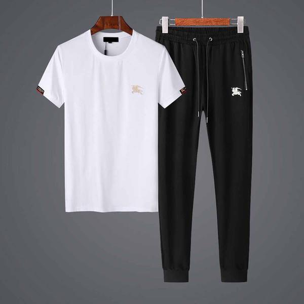 Erkekler Yaz Tasarımcı Eşofman Yaz Nakış Desen Tops + Uzun Pantolon Moda Iki Parçalı Erkek Lüks Rahat Giyim Artı Boyutu M-4XL