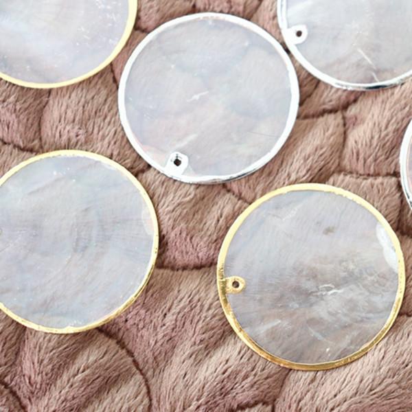 40MM 20pcs 100% Branco níquel / ouro Side Espelho Natural Shell Flat Round Forma de água doce Shell Beads encantos Jóias