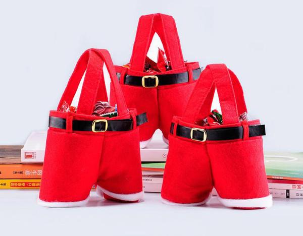 Kostenlose DHL Santa Pants Style Weihnachten Candy Taschen Weihnachtsgeschenk Tasche Decoracion Navidad Festliche Hochzeit Lieferungen Santa's Pants Style
