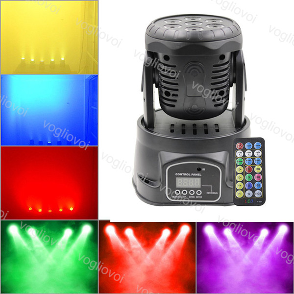 best selling Moving Head Lights 100W 7LEDs RGBW LED Mini Beam Spot Wash Stage Lighting Mixing DMX512 Control For Disco DJ Christmas Party Effect DHL