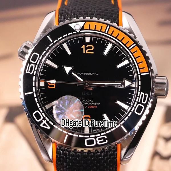 New Planet Ocean 600m Co-Axial 215.32.44.21.01.001 Steel Case Black Orange Ceramics Bezel Black Dial Miyota 8215 Automatic Mesn Watch E04a1