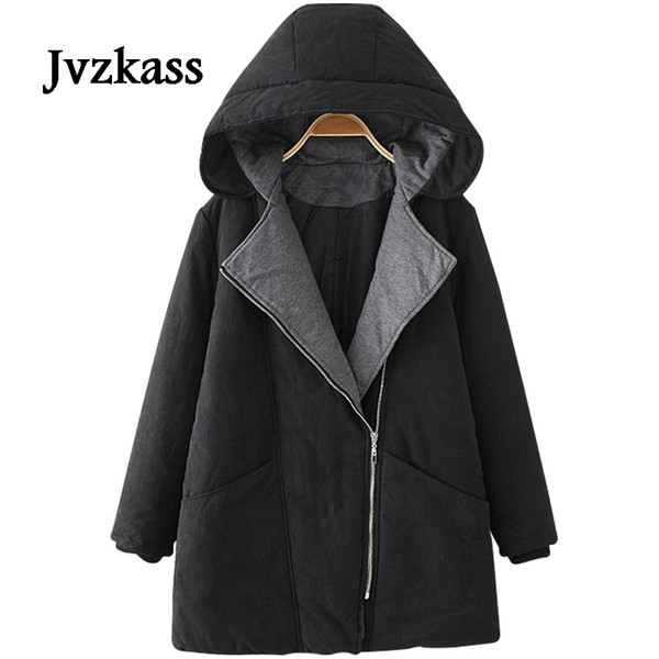 2019 NEW Jvzkass new Plus size women's large lapel hooded coat in the long section loose plus fat winter cotton suits women Z47 Coats