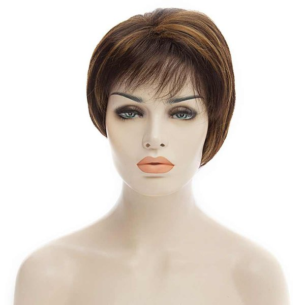 Fashion Fluffy Side Bang Brown Mixed Black Charming Short Straight Synthetic Capless Wig For Women Short Capless Wigs Blonde Bangs BB