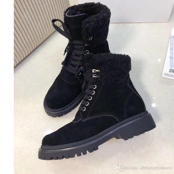 Winter Snow Boots Warm Fur Leisure Design Plush Booties Shoes Plus Velvet with M0NCLER Origin Box Chaussures de femme Suede Ankle Boots