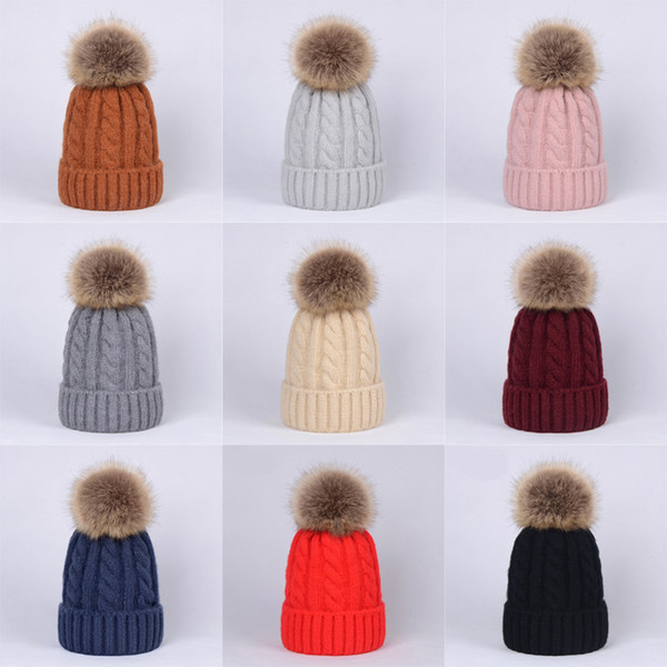 Детские сплошные вязаные шапки-помпоны 10+ Девочки Мальчики Вязание крючком Шерсть Bobble Зима Малыша Дети Дизайнерские шапки Мода Помпон Лыжные теплые шапки