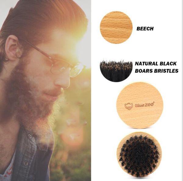 Men's Shaving Brush Round Mustache Combs Boar Bristle Men's Face Message Facial Hair Beard Comb Beard Comb brush LJJK1611