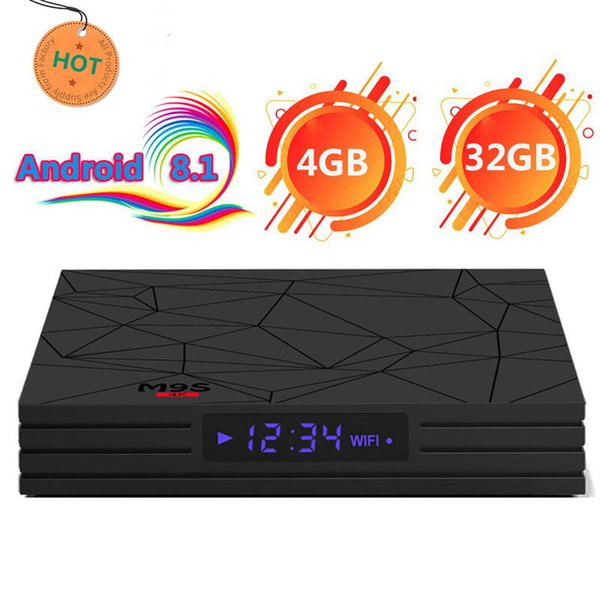 Android 8.1 Caja de TV Rockchip RK3328 M9S Y2 4GB 32GB compatible 2.4G WiFi Bluetooth 4.0 4K Reproductor multimedia ultra inteligente Google TV Pantalla digital