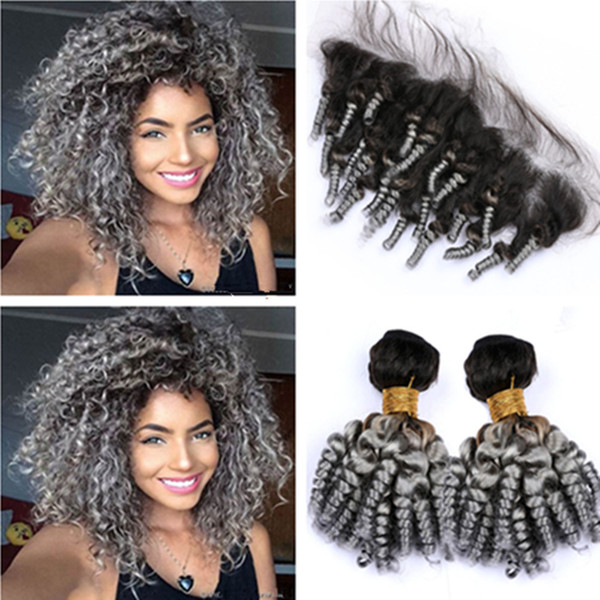 Silver Grey Ombre Funmi Curly Peruvian Human Hair 2Bundles and Frontal #1B/Grey Ombre Aunty Funmi Hair Wefts with Lace Frontal Closure 13x4