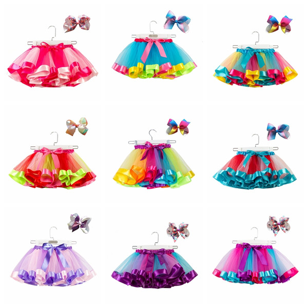 top popular Baby girls tutus rainbow color babies girl tutu skirts with headband kids holidays inform dance clothes 2020