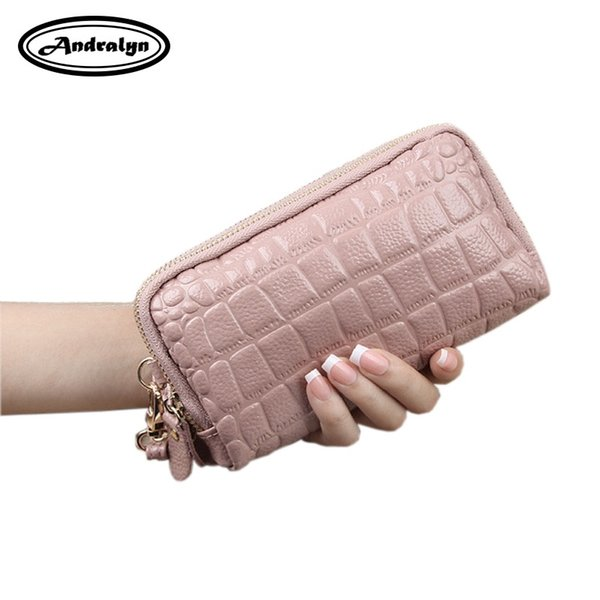 Andralyn 2019 New Natural Leather Handbag Women Double Zipper Large Capacity Hand Holding Package Female Coin Purse Phone Bag #367885