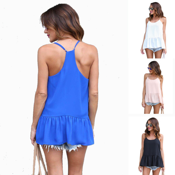top popular Peplum Straps Camis Women Sexy Spaghetti Strap Tank Tops Solid Sleeveless Loose Top Lady Casual Long T Shirts Girls Cute Tees 2021