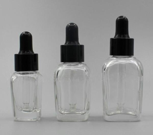 30 ml 1 oz clear vidro frasco conta-gotas quadrado com preto branco prata ouro pipeta conta-gotas tampa perfume óleo essencial vape e líquido garrafa