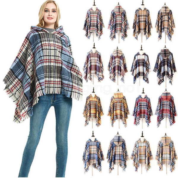 best selling 7styles Winter Knit Large Shawls plaid Charm Tassel Blankets Cape Casual Lady Sweater With operator Hat coat outdoor warm Blankets FFA2918