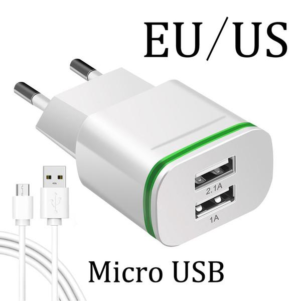 UE US Plug 2 Ports LED Lumière Chargeur Pour Huawei Honor 4C 5 C 6 7 8 9 Lite 7C 5X 6X Chargeur téléphone portable Câble d'alimentation USB de charge