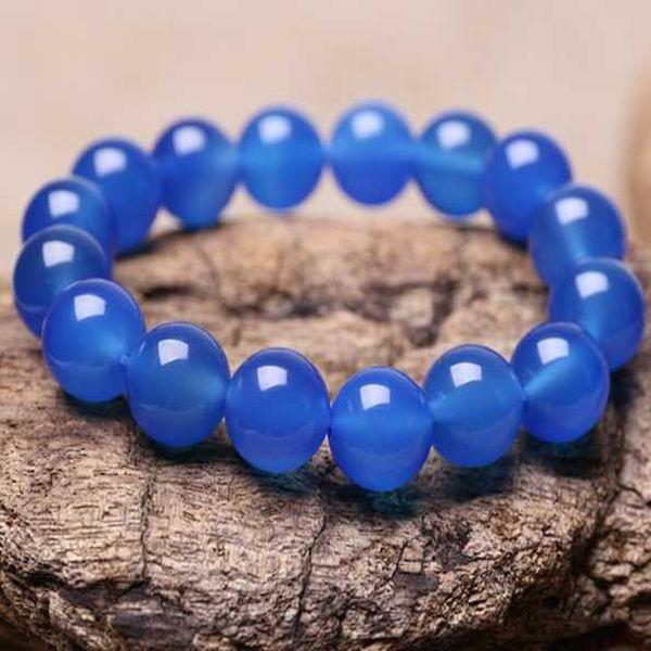 Regali di gioielli intagliati a mano della giada naturale del Chalcedony del braccialetto blu naturale puro all'ingrosso