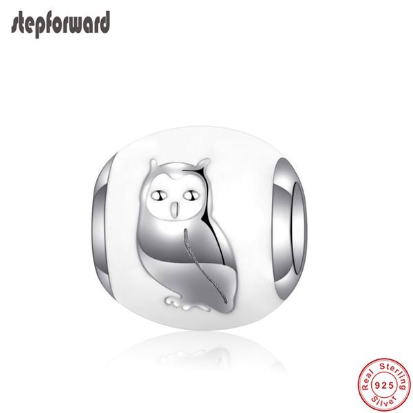 Popular Esmalte Branco 925 Sterling Silver Owl Padrão Charme Fit Pulseira e Colar
