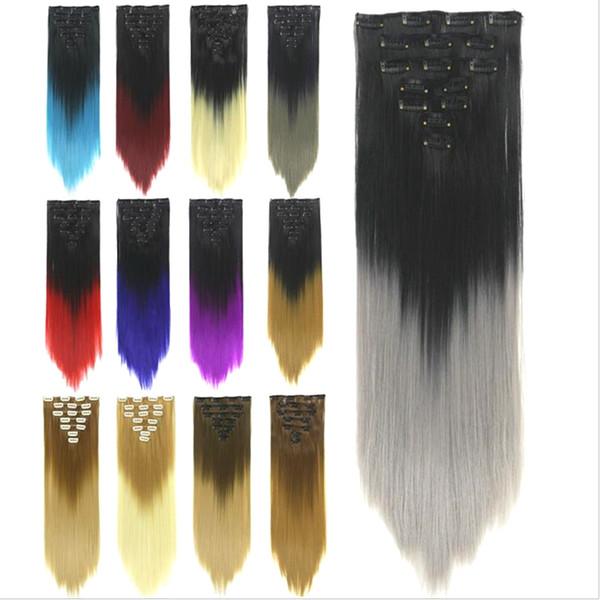 fournisseur d'usine vente chaude Ombre couleur 7pcs / lot clip dans les cheveux mis sans soudure droites extensions de cheveux colorés