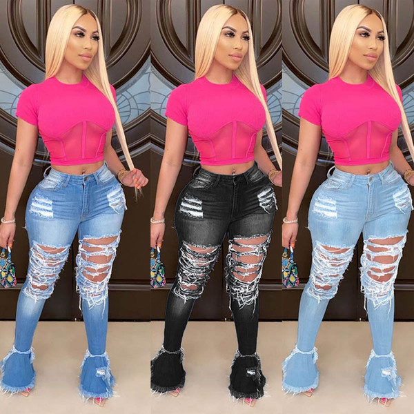 top popular Womens fashion Flared ruffle denim trousers designer Skinny jeans sexy hole ripped high Waist pants streetwear lady plus size Clothing 2021