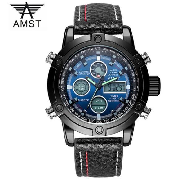 Men's Watch Luxury AMST Men Sports Watches Leather Strap Good Quality Waterproof Quartz Wristwatches Famous Wrist Watch Wholesale