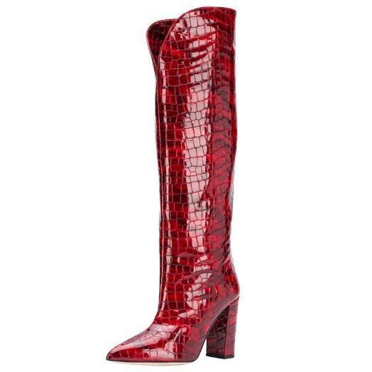 Les bottes en cuir pour femmes Livraison gratuite, automne et hiver nouvelles bottes crocodile impression épais et pointu, taille: 34-48, rouge