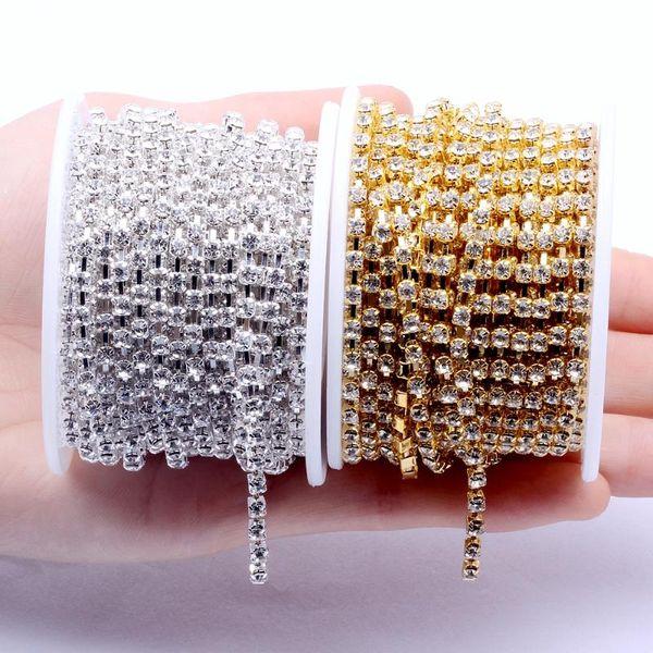 Chaînes Brillant Verre Strass Cuivre Coupe Claw Non Hotfix Strass Diamonds robe de mariage de bricolage Vêtements