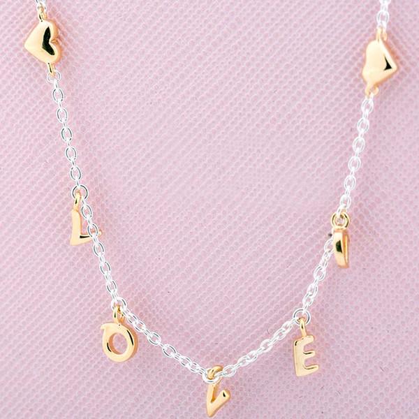 Nuevo 925 Collar de Plata Esterlina Shine Loved Script Collier Necklace Para Mujeres Regalo de Boda Europa Joyería DIY