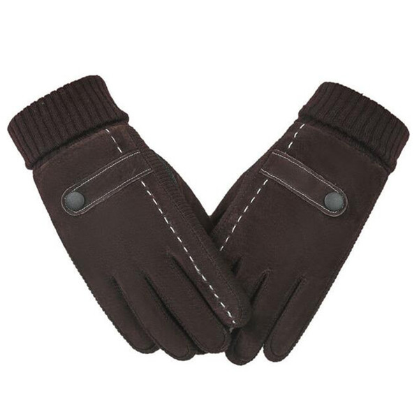 Touch Screen Mens Genuine Leather Gloves Mittens High Quality Pig Skin Male Winter Warm Windproof Outdoor Thermal Gloves 18Nov