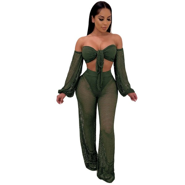 Sexy Beach Two Piece Sets Short Women Mesh Hollow Out Strapless Bow Tie Crop Top Wide Leg Pant Sets Outfits