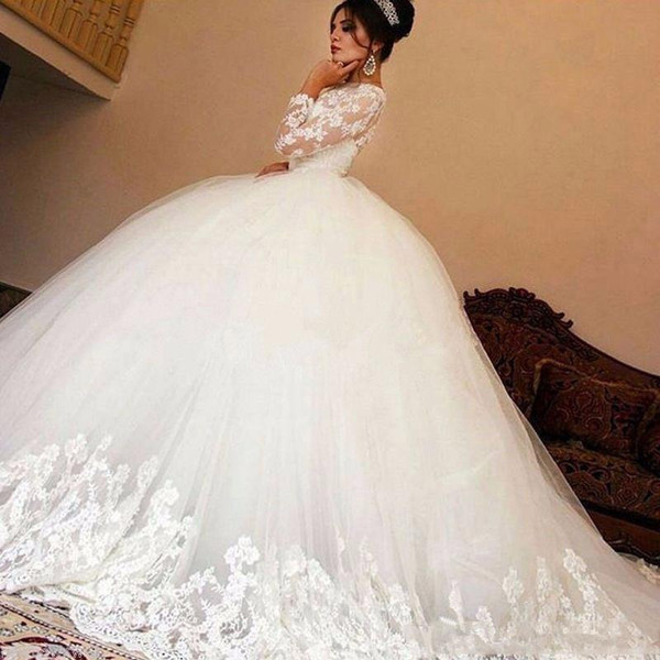 white vintage ball gown wedding dresses high neck long sleeves a-line wedding gowns with lace applique tiered ruffle wedding gowns 207 - from $242.01