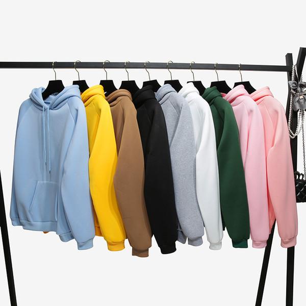 best selling 2019 winter Casual Fleece women Hoodies Sweatshirts long sleeve yellow girl Pullovers loose Hooded Female thick coat women winter coats WY70