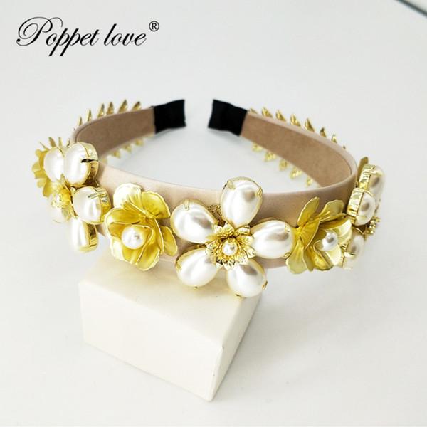 Gold Hair Accessories Wedding Bridal Women Big Pearl Tiaras And Crowns Rhinestone Handmade Multifunctional Headbands Hair Jewel C19022201