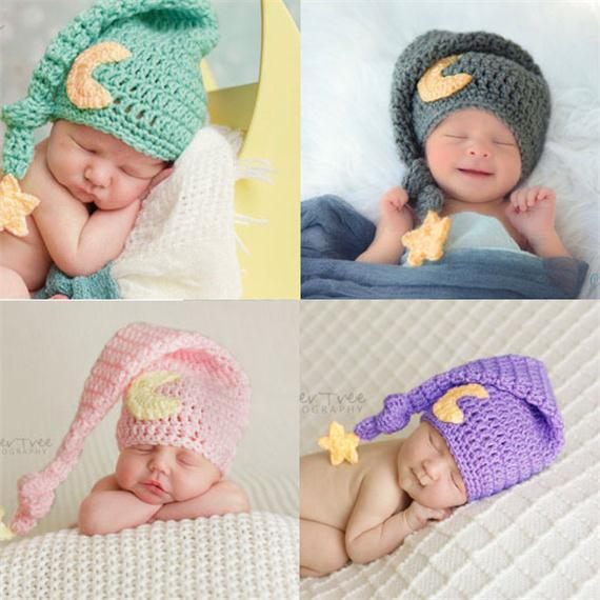 Cute Newborn Baby Moon Long Tail Hats Knit Cap For Photography Props Warm Star Moon Crochet Cap Baby Album Gift