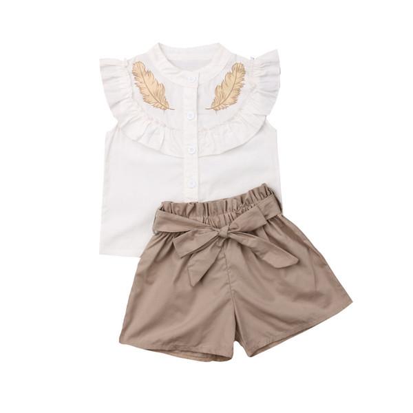 Moda Bambino Neonate Piume Estate Top Gilet Pantaloni Pantaloncini Abiti Set di vestiti
