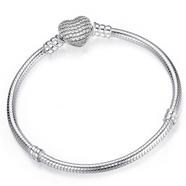 best selling 925 Sterling Silver Heart Charms Bracelet Fit Pandora European Beads Jewelry Bangle Real silver Bracelet for Women
