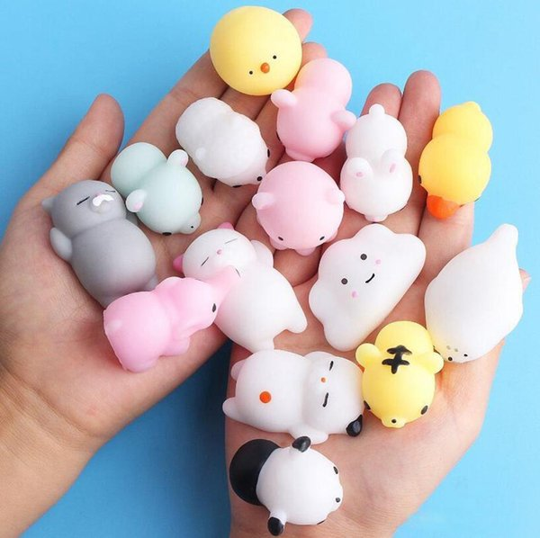 Kawaii Animals Mochi Squishy Stress Toy Relief Animal Squishies Mini Hand Squeeze Squishes Decompression Toy 2000pcs