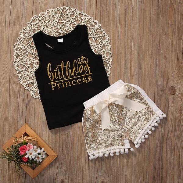 Perakende bebek kız mektup baskılı altın pullu takım elbise kolsuz siyah pamuk yelek üst + şort çocuklar rahat setleri çocuk butik giyim