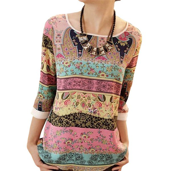 Vrouwelijke Блузка Blusas Camisas Mujer XXL Блузка с принтом Zomer 2019 Dames 3/4 Mouwen Повседневные блузы O-hals Vrouwelijke