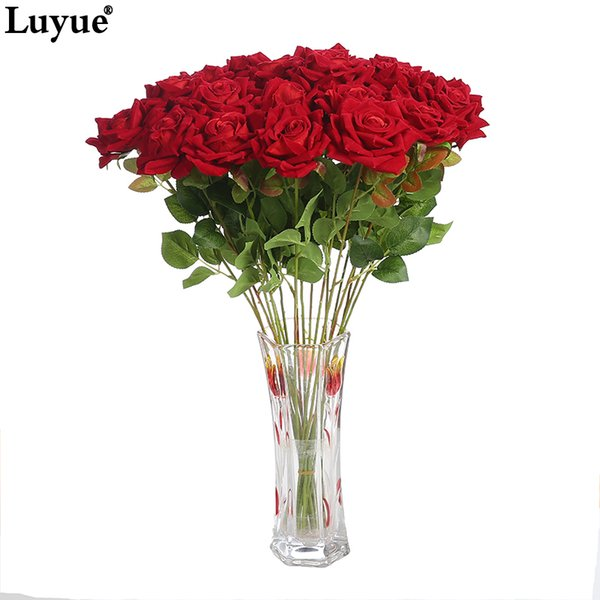 Luyue Artificial Flowers Lindas Rosas Silk Rose Bridal Bouquet Flower Fake Simulation Flower Wreath Wedding Home Decor Party Y19061103