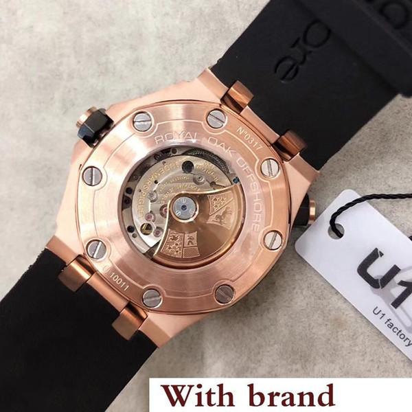 Venta de lujo Royal Oak Offshore Diver Two Tone 42 mm movimiento automático 15340 Series Cinturón de goma para hombre esfera roja de cristal relojes