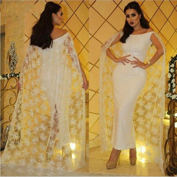 Elegant Ankle Length Pencil Evening Dresses With Long Wrap New 2019 White Appliques Sexy Back Split Sheath Prom Party Gowns Arabic Style