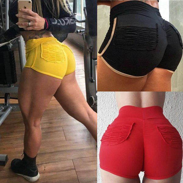 New Sexy Women Ladies High Waist Pleated Sports Gym Yoga Fitness Workout Shorts Hot Pants Size S-XL