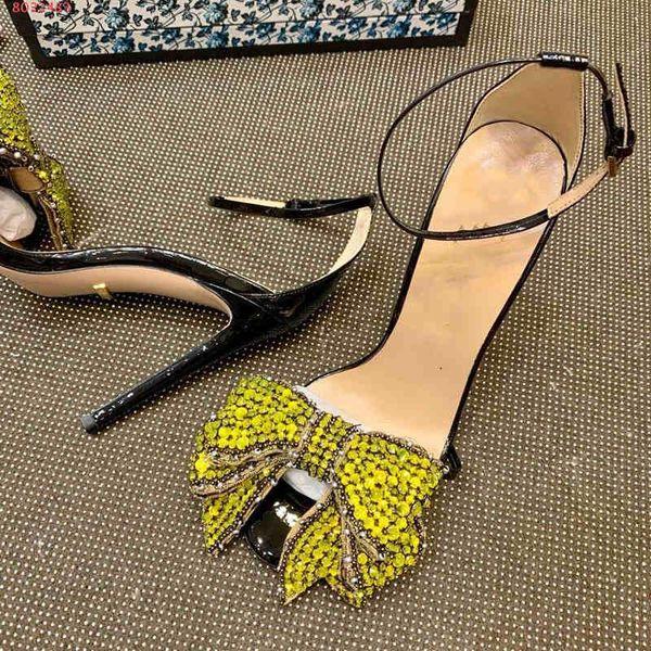 Hot Sale-Fashion Diamantes e arcos sandálias de salto alto vermelho e azul preto rosa Elegante livre de vulgaridade Pure e fresco coringa tamanho 35-41