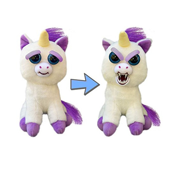 Feisty Pets Change Face 22CM Unicorn Plush Toys Kids baubles With Funny Expression Stuffed Animal Dolls Adorable dog Squeeze Vicious bear