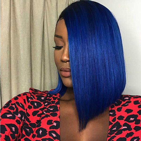 Siyah Mavi Siyah Kadınlar Için Dantel Ön Peruk Kısa Bob Perulu Bakire Saç Tutkalsız Renk Mavi Tam Dantel İnsan Saç Peruk Bebek saç