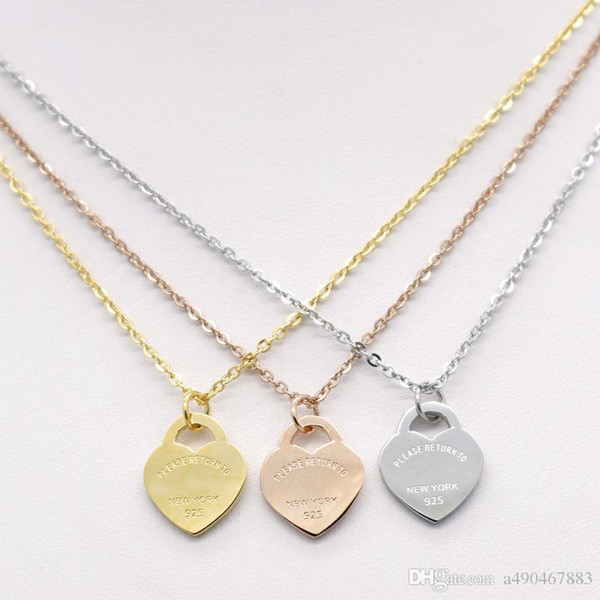 Hotstone88 famous brand jewerly stainless Steel 18K gold plated necklace short chain silver heart necklace pendant for women couple gift