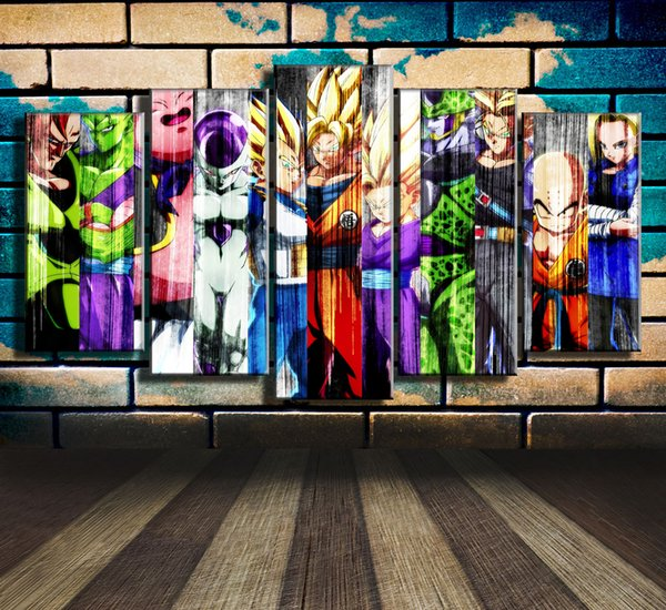 Dragon Ball Fighterz Characters,5 Pieces HD Canvas Print Home Decor Art Painting (Unframed/Framed)